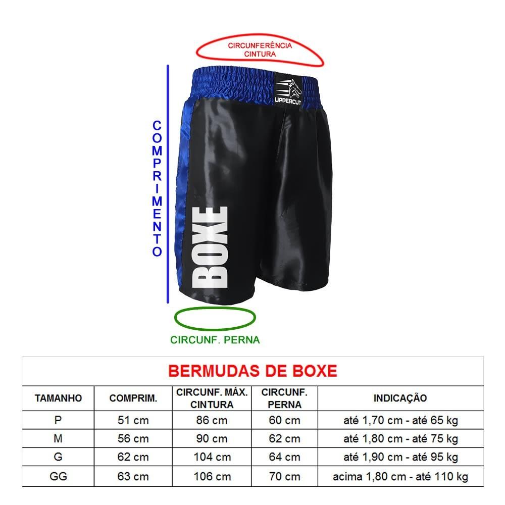 Calção Short Boxe ST-12 - Preto/Azul - Uppercut - Unissex  - Loja do Competidor