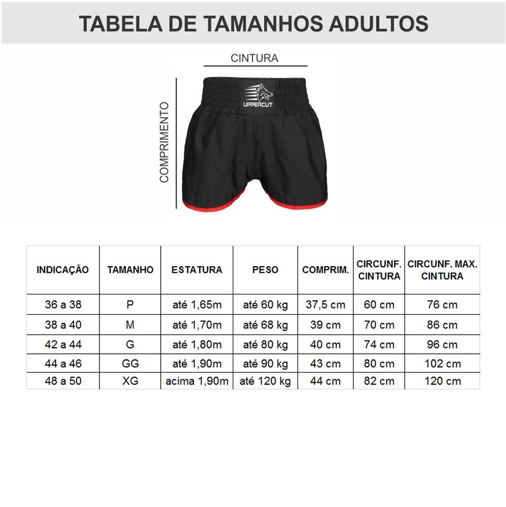 Calção Short Kick Boxing - Premium - Bra/Verm - Uppercut  - Loja do Competidor