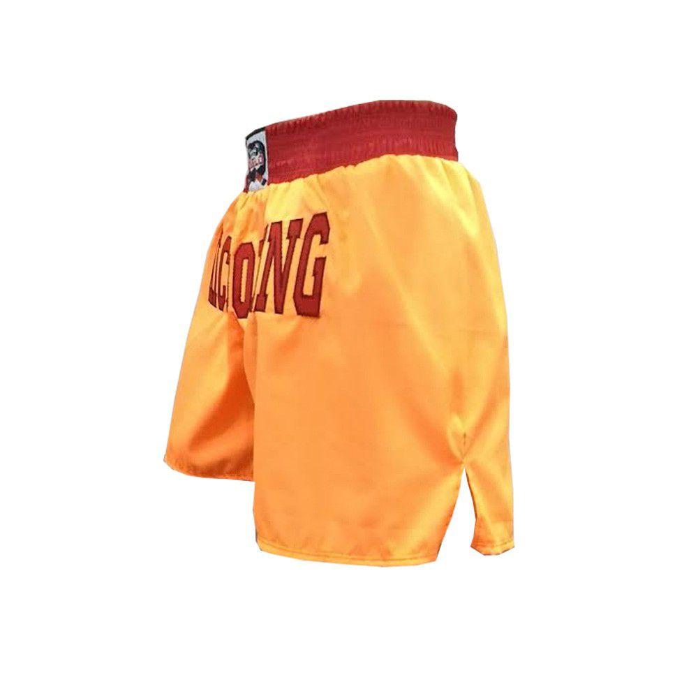 Calção / Short Kickboxing - Contender - Bordado - Laranja/Vermelho - Duelo Fight .  - Loja do Competidor