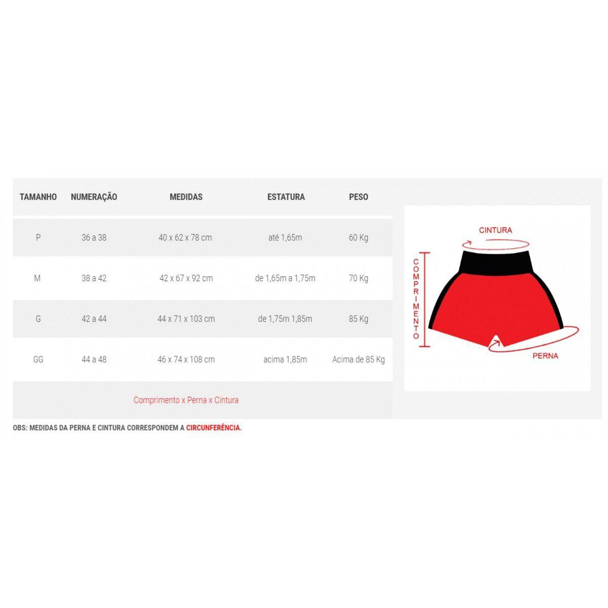 Calção / Short Kickboxing - Contender - Bordado - Preto/Vermelho - Duelo Fight  - Loja do Competidor