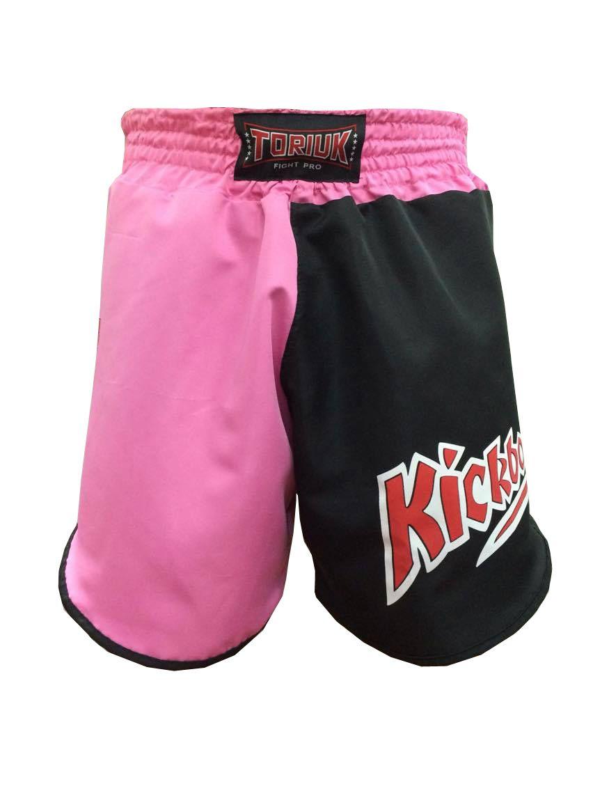 Calção / Short Kickboxing - Feminino - Cavado-  K1 V2- Preto/Rosa - Toriuk .  - Loja do Competidor