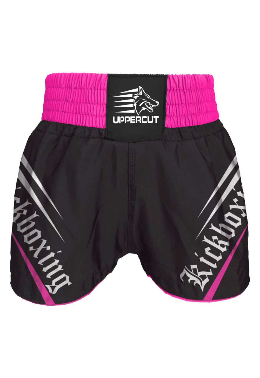 Calção Short Kickboxing - Glory - Preto/Rosa- Uppercut
