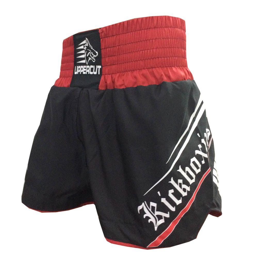 Calção Short Kickboxing - Glory - Preto/Vermelho - Uppercut -
