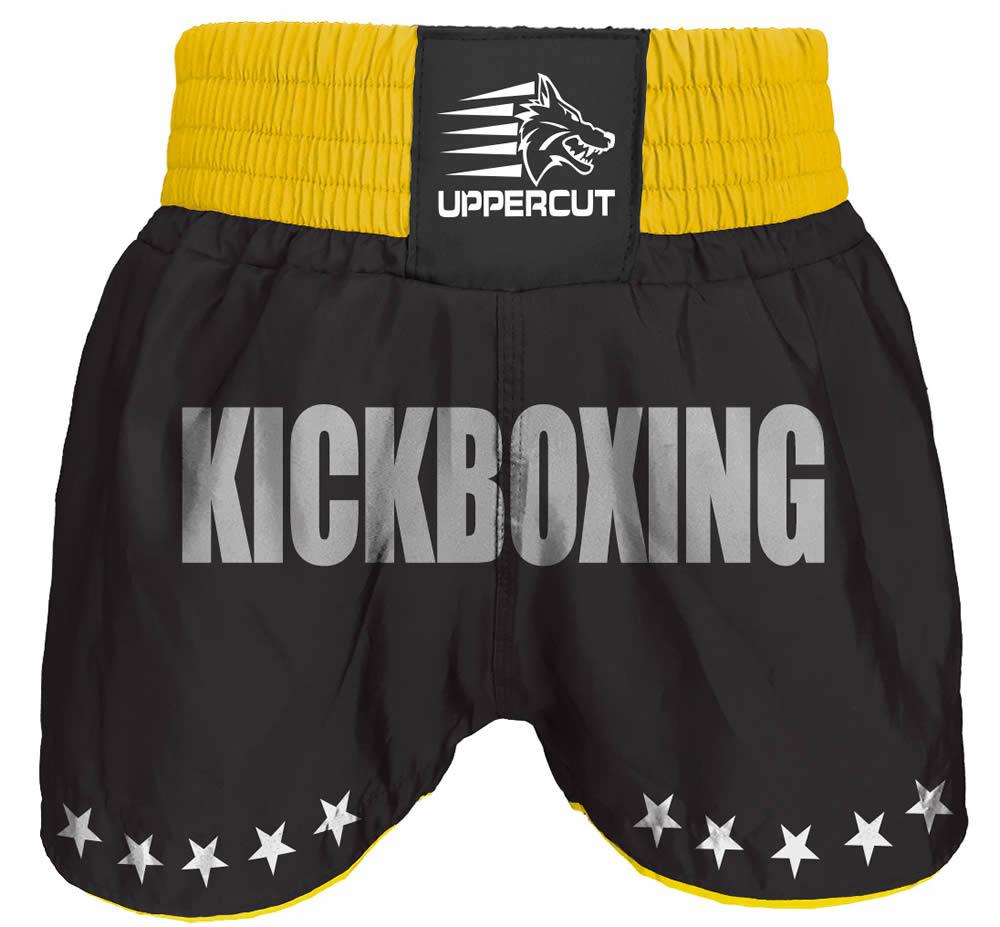 Calção Short Kickboxing  - GP - Preto/Amarelo- Uppercut  - Loja do Competidor