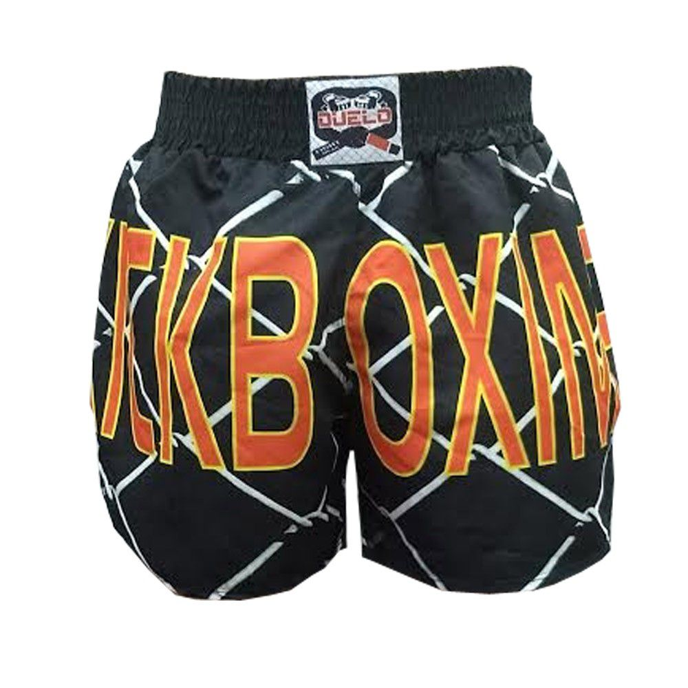 Calção Short Kickboxing - Grade - Cavado - Preto - Duelo Fight  - Loja do Competidor