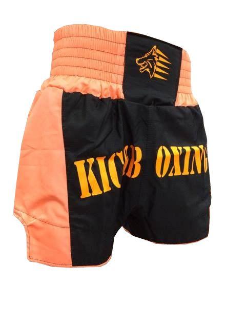 Calção Short Kickboxing Premium Hurricane - Preto/Laranja  - Loja do Competidor