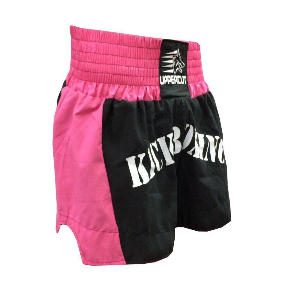 Calção / Short Kickboxing  - Hurricane - Preto/Rosa- Uppercut