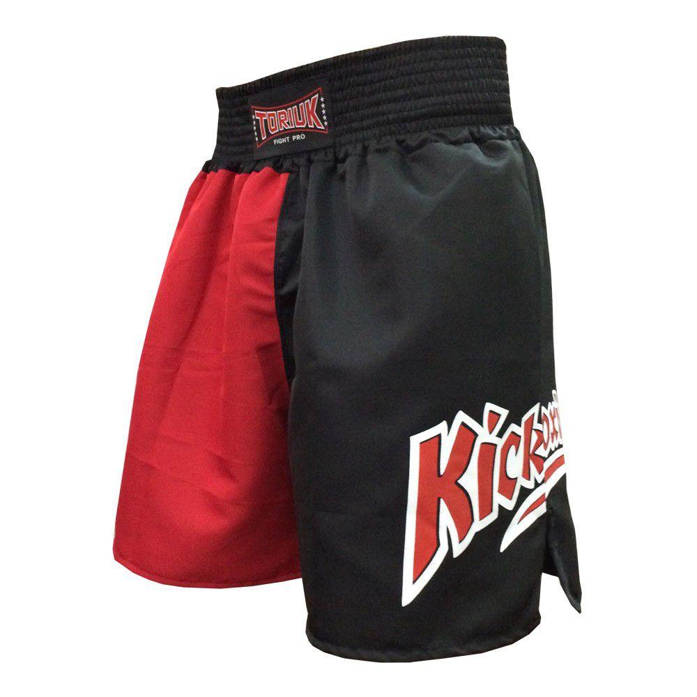 Calção Short Kickboxing - New K1 - Preto/Vermelho - Toriuk -