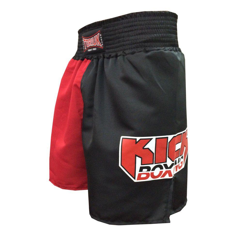 Calção / Short Kickboxing - New Kicks MMA - Preto/Vermelho - Toriuk