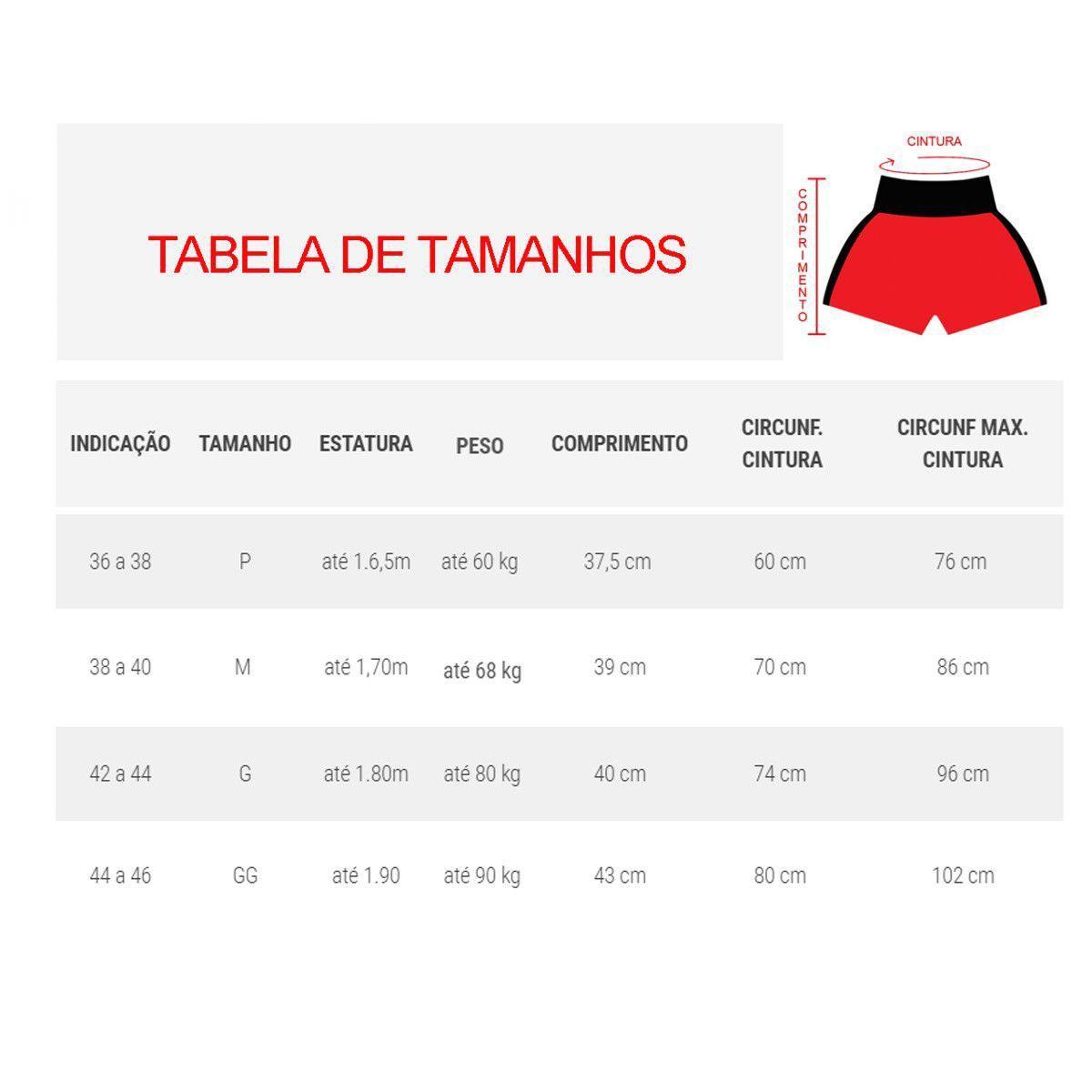 Calção / Short Kickboxing  - Premium - Preto/Vermelho- Uppercut .  - Loja do Competidor