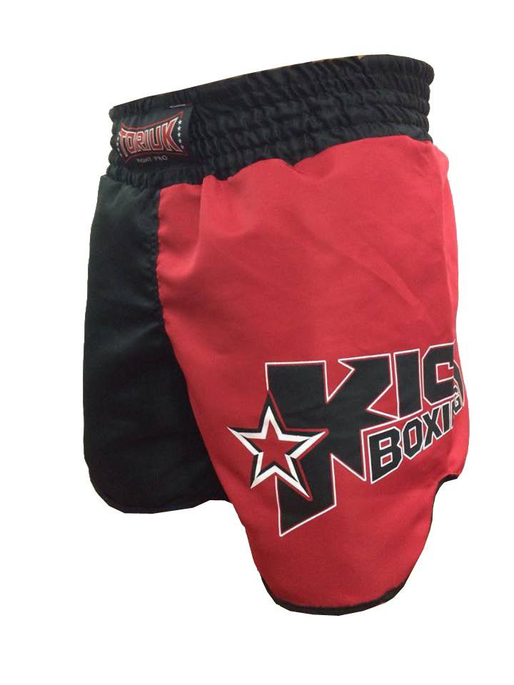 Calção / Short Kickboxing - Starfighter- Cavado - Preto/Vermelho - Toriuk .