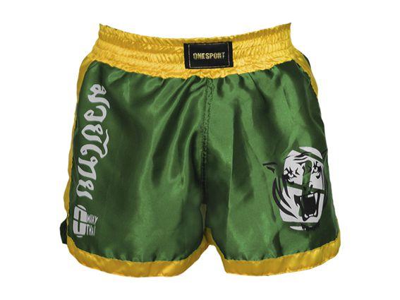 Calção Short Muay Thai - Brasil - Verde/Amar - One Sport -  - Loja do Competidor