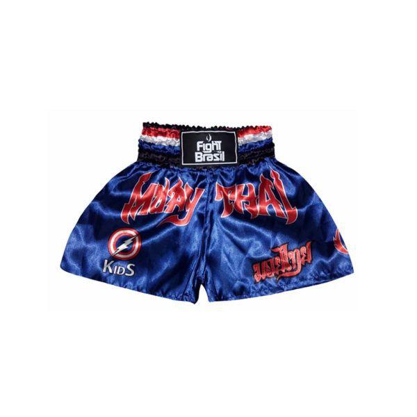 Calção Short Muay Thai - Capitão América - Kids Azul - FBR