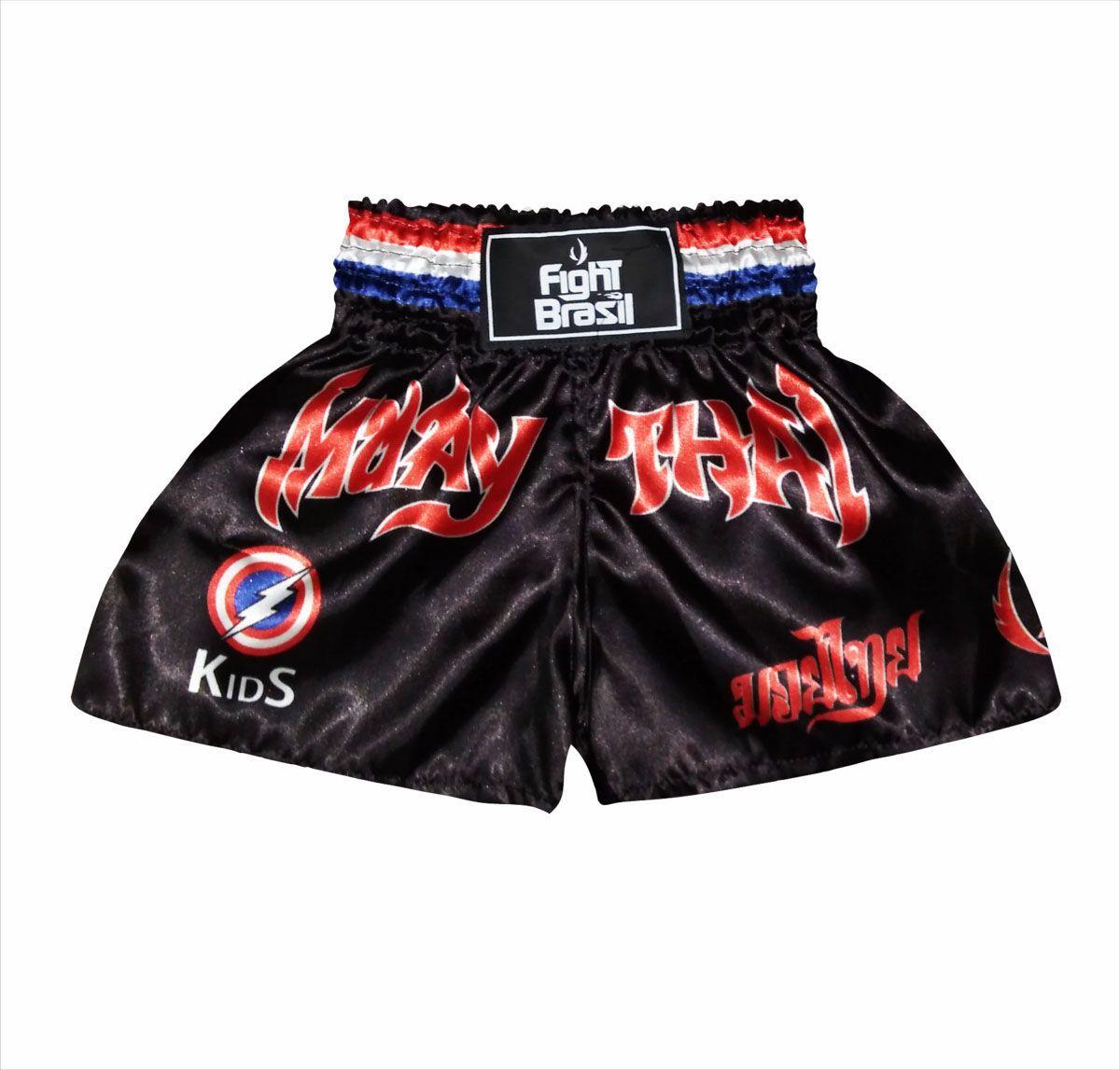Calção Short Muay Thai - Capitão América - Kids - FBR -
