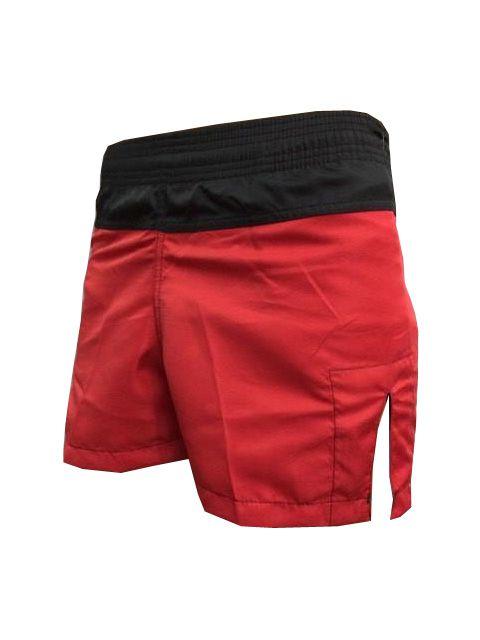 Calção / Short Muay Thai - Company - Bordado - Preto/Vermelho - Feminino .  - Loja do Competidor