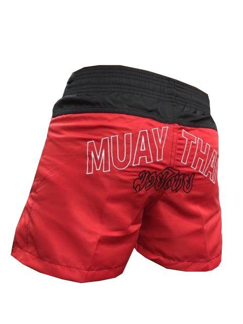 Calção / Short Muay Thai - Company - Bordado - Preto/Vermelho - Feminino .