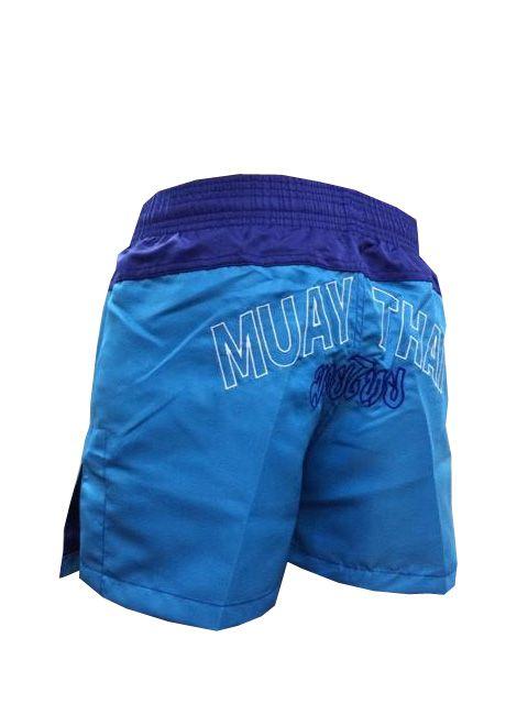Calção Short Muay Thai - Company V2 - Bordado - Azul/Azul Claro- Feminino -  - Loja do Competidor