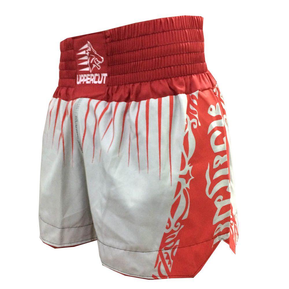 Calção Short Muay Thai - Cross - Preto/Vermelho - Uppercut