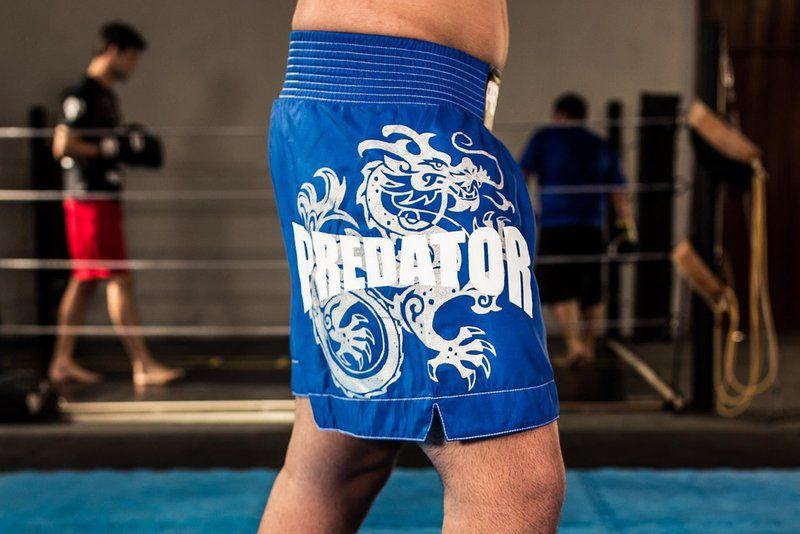 Calção / Short Muay Thai - Drago - Unissex - Azul - Predator .