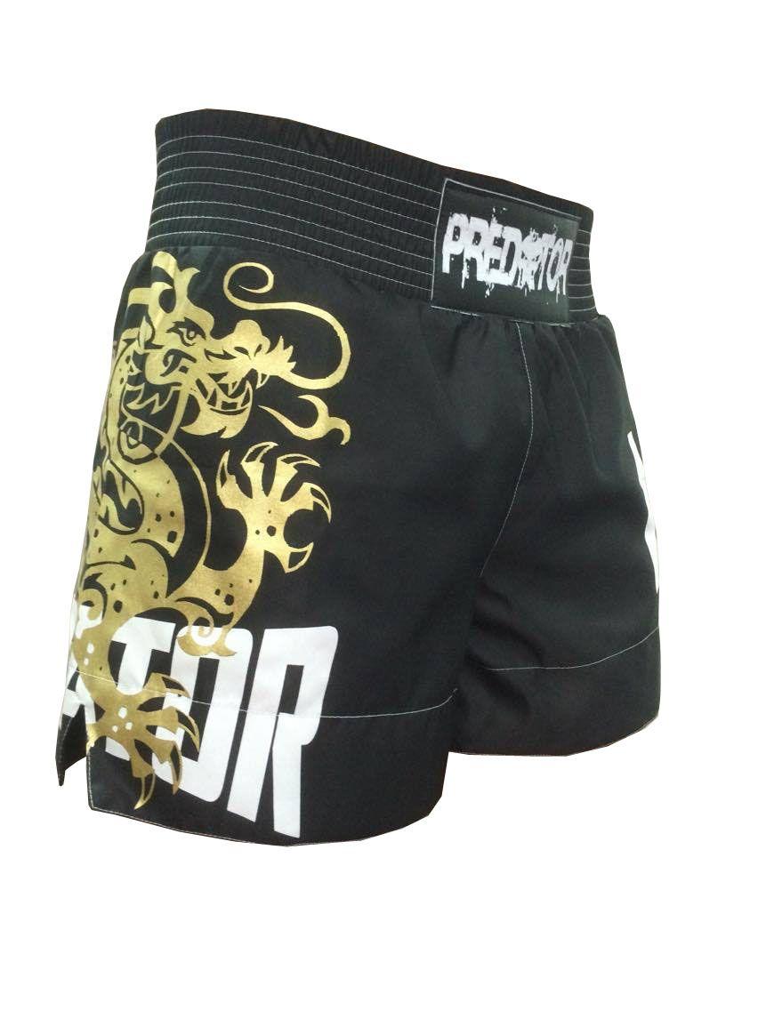 Calção / Short Muay Thai - Drago V2 - Unissex - Preto - Predator .  - Loja do Competidor