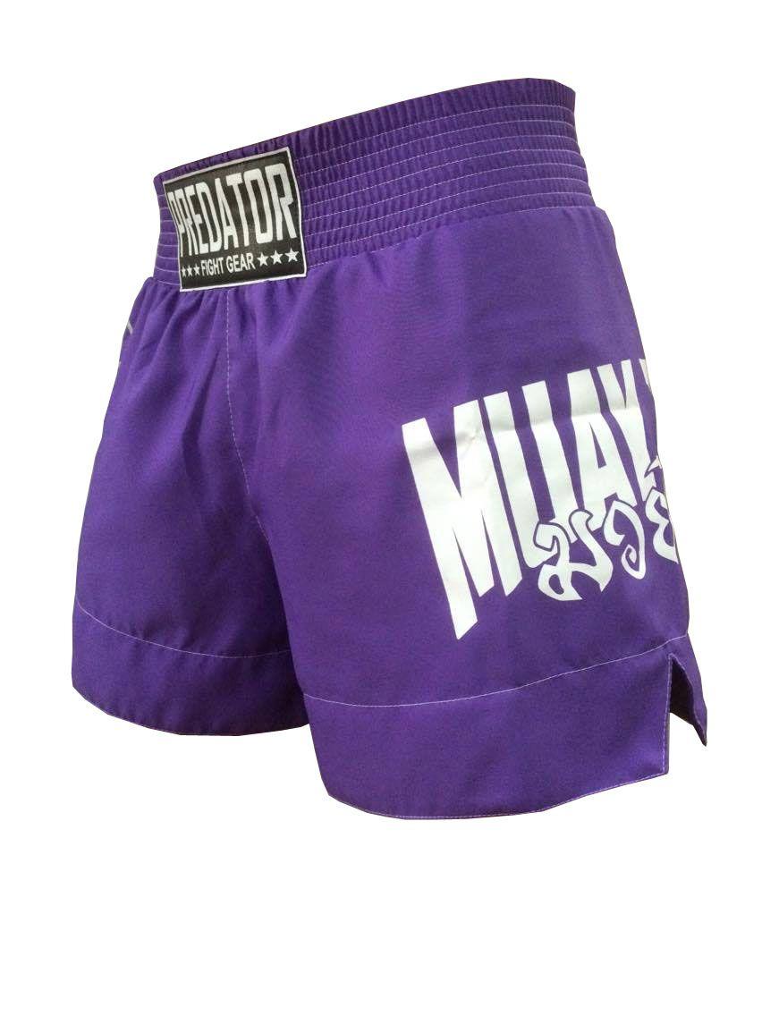 Calção Short Muay Thai - Drago V2 - Unissex - Roxo - Predator -