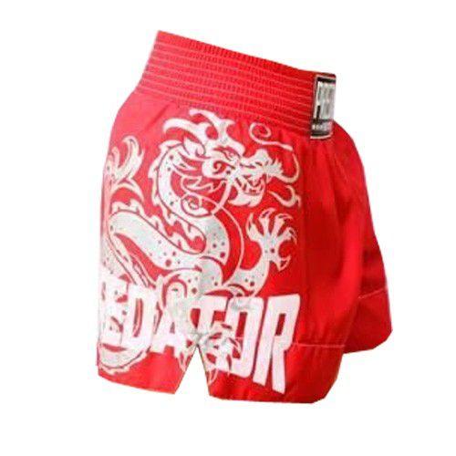 Calção Short Muay Thai - Drago V2 - Unissex - Vermelho- Predator -  - Loja do Competidor