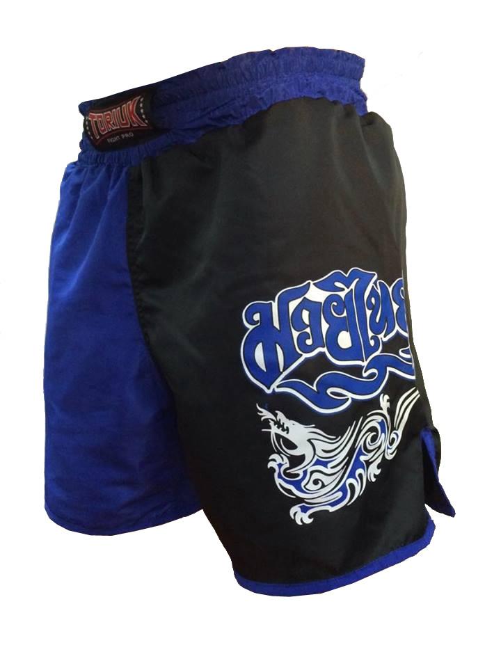 Calção / Short Muay Thai - Dragon Melt - Quadrado - Azul/Preto - Toriuk