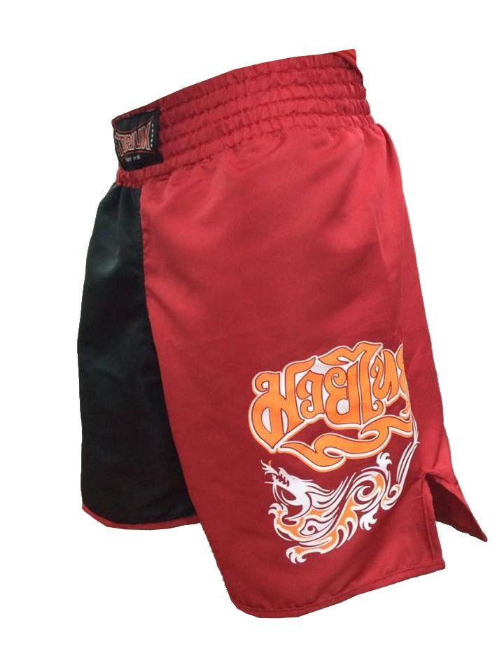 Calção Short Muay Thai - Dragon Melt - Quadrado - Vermelho/Preto - Toriuk -