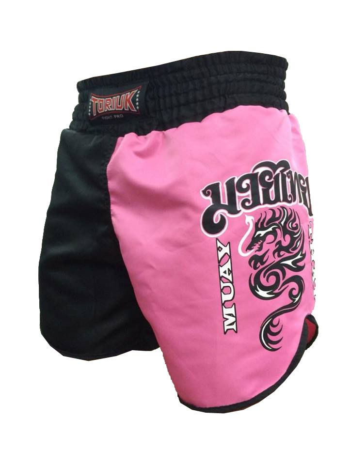 Calção Short Muay Thai - Dragon on Fire - Feminino- Preto/Rosa- Toriuk -