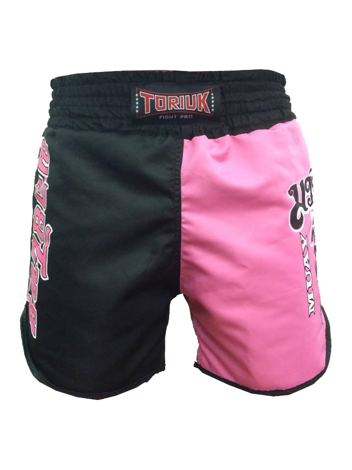 Calção / Short Muay Thai - Dragon on Fire - Feminino- Preto/Rosa- Toriuk .  - Loja do Competidor