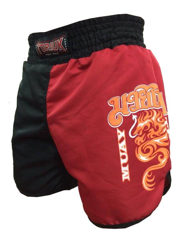 Calção / Short Muay Thai - Dragon on Fire - Cavado - Preto/Vermelho - Toriuk .