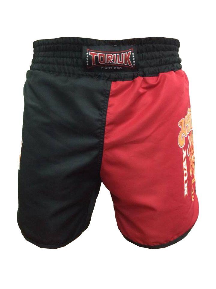 Calção / Short Muay Thai - Dragon on Fire - Cavado - Preto/Vermelho - Toriuk .  - Loja do Competidor