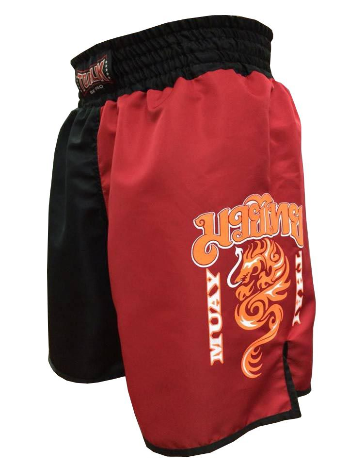 Calção Short Muay Thai - Dragon on Fire - Quadrado - Preto/Verm -Toriuk -  - Loja do Competidor