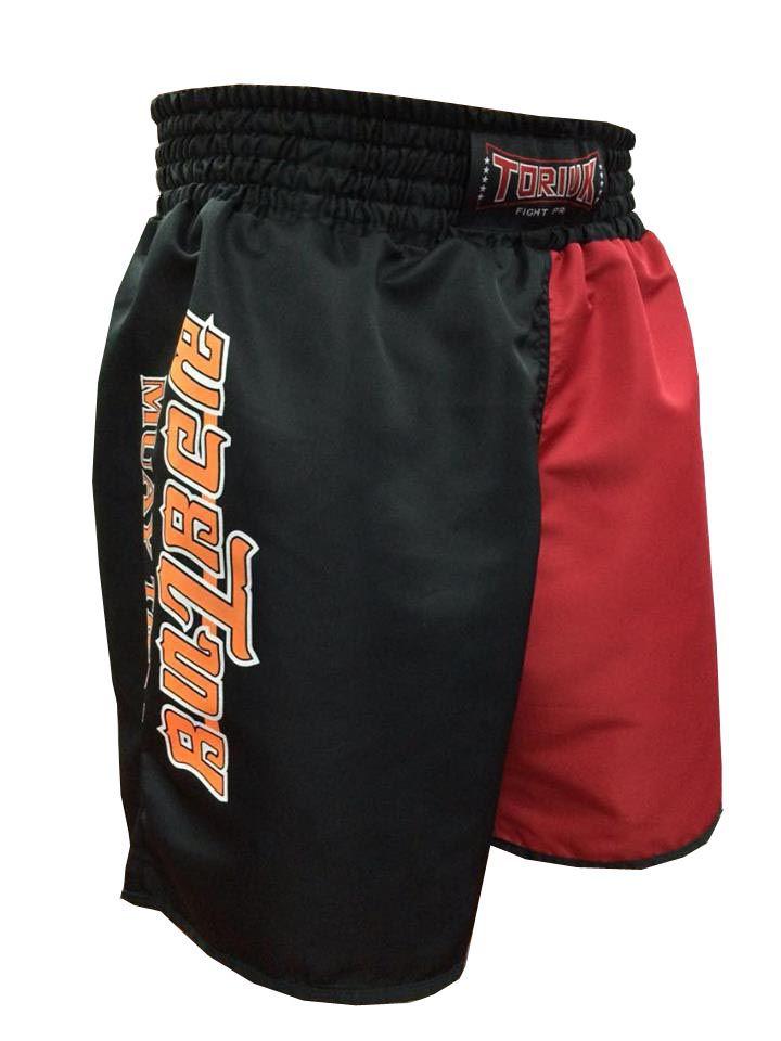 Calção Short Muay Thai - Dragon on Fire - Quadrado - Preto/Verm -Toriuk -  - Loja do Competidor