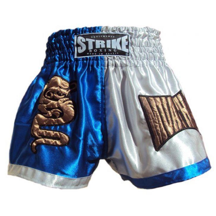 Calção / Short Muay Thai - Dragon Thai - Prata / Azul - Strike .  - Loja do Competidor