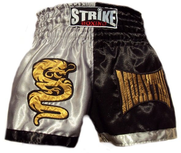 Cal��o / Short Muay Thai - Dragon Thai - Preto / Prata -  Strike