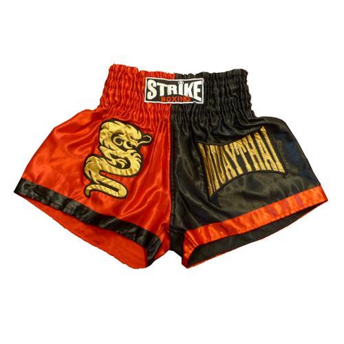 Calção / Short Muay Thai - Dragon Thai - Preto / Vermelho -  Strike .  - Loja do Competidor