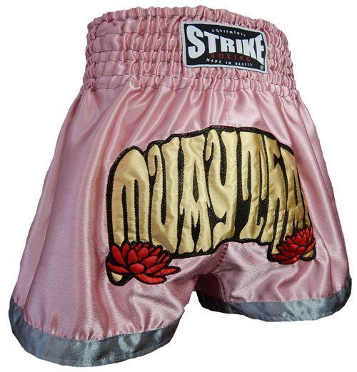 Calção / Short Muay Thai - Feminino - Treino - Rosa Claro - Strike .