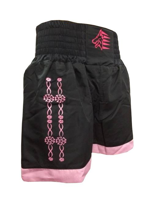 Calção Short Muay Thai - Flower - Preto/Rosa - Uppercut