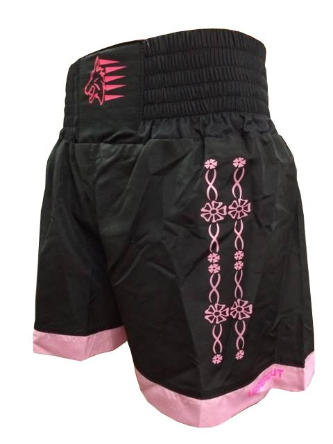 Calção / Short Muay Thai - Flower - Preto/Rosa- Uppercut . - Loja do Competidor