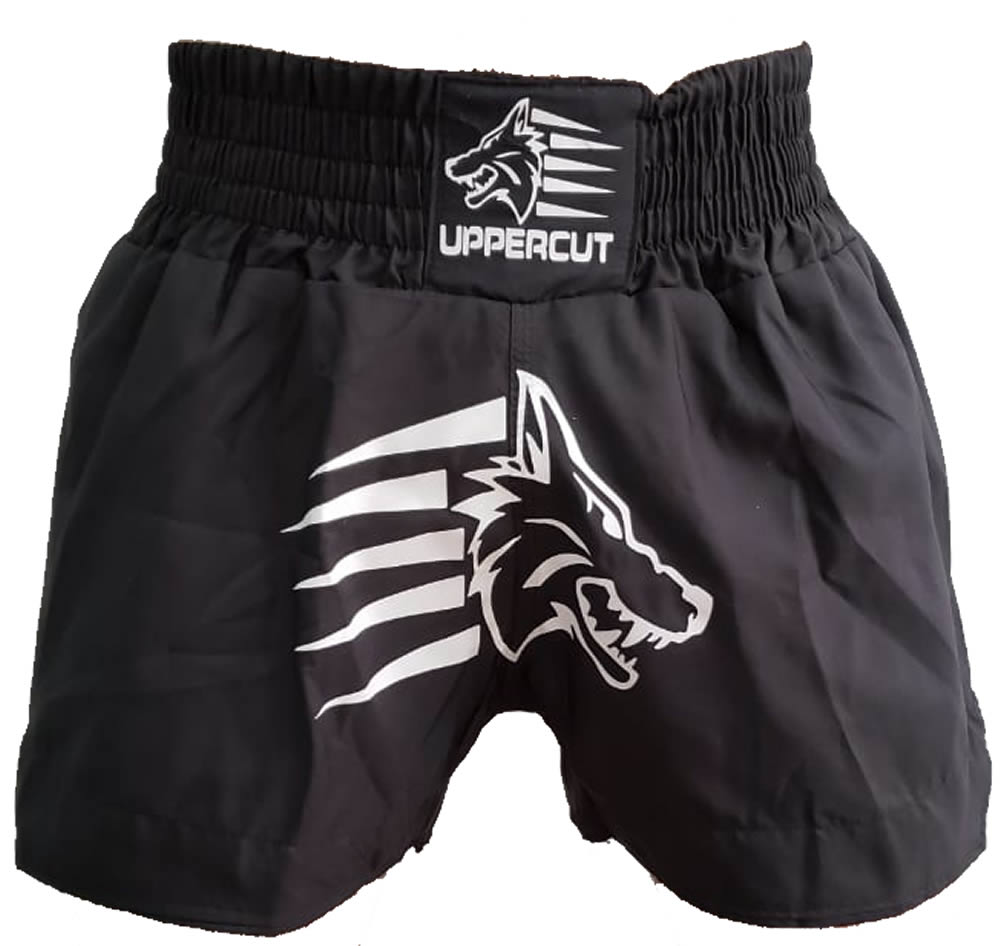 Calção Short Muay Thai Kickboxing Big Black Wolf - Preto  - Loja do Competidor