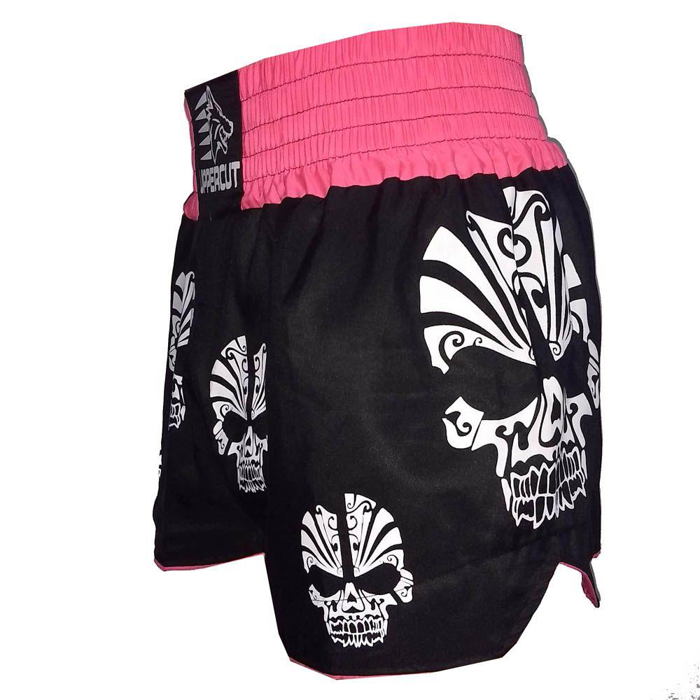 Calção Short Muay Thai / Kickboxing  - Caveira - Preto/Rosa- Uppercut