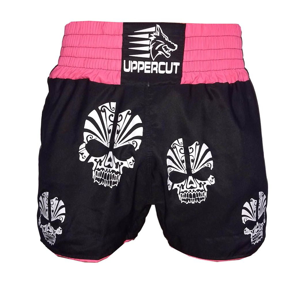 Calção Short Muay Thai / Kickboxing  Multi Caveira - Preto/Rosa- Uppercut  - Loja do Competidor