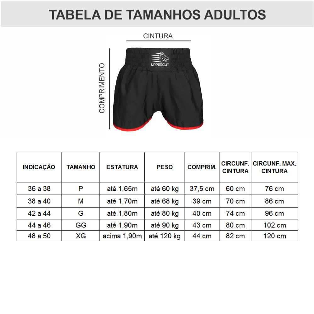 Calção Short Muay Thai / Kickboxing Caveira Premium - Preto/Verm  - Loja do Competidor