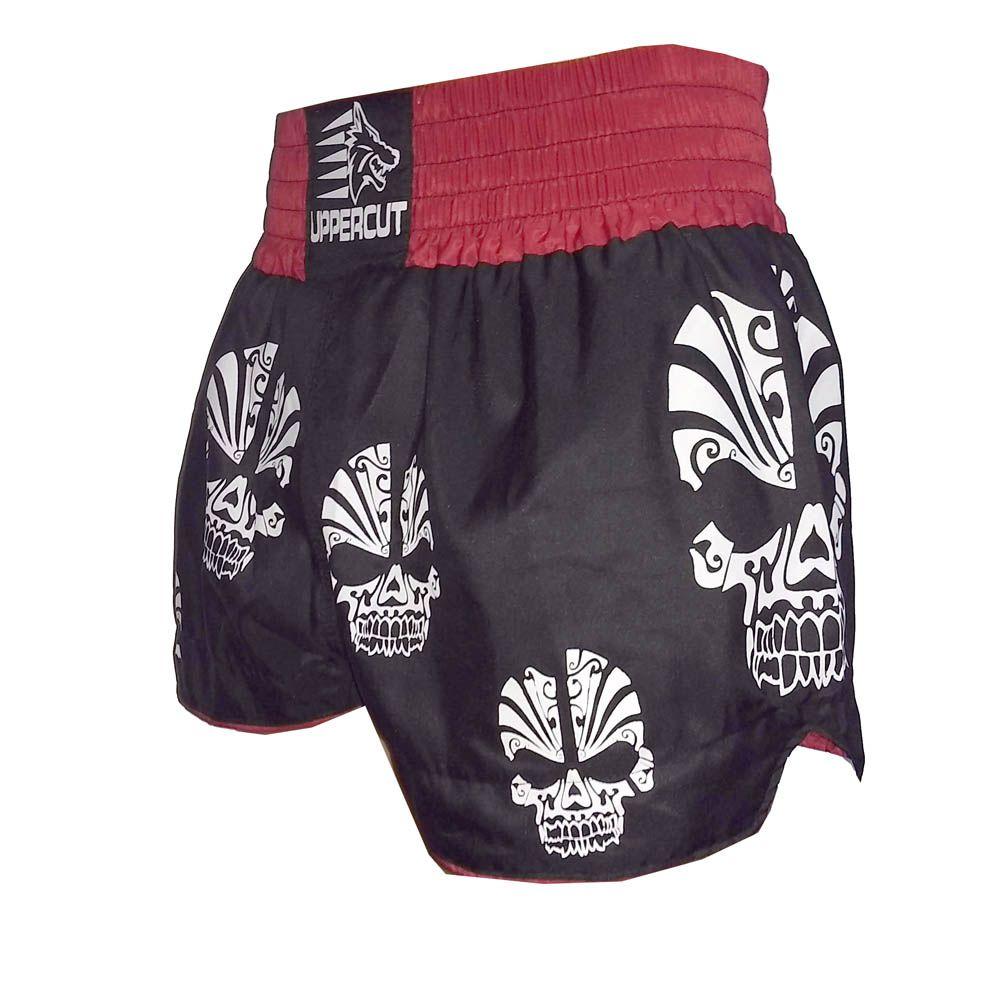 Calção Short Muay Thai / Kickboxing  - Caveira - Preto/Verm - Uppercut