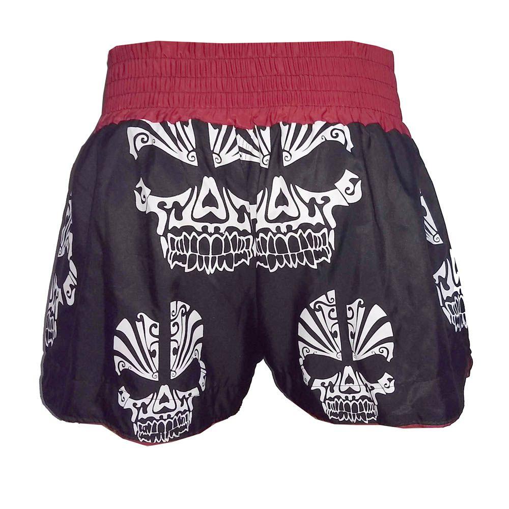 Calção Short Muay Thai / Kickboxing Multi Caveira - Preto/Verm - Uppercut  - Loja do Competidor