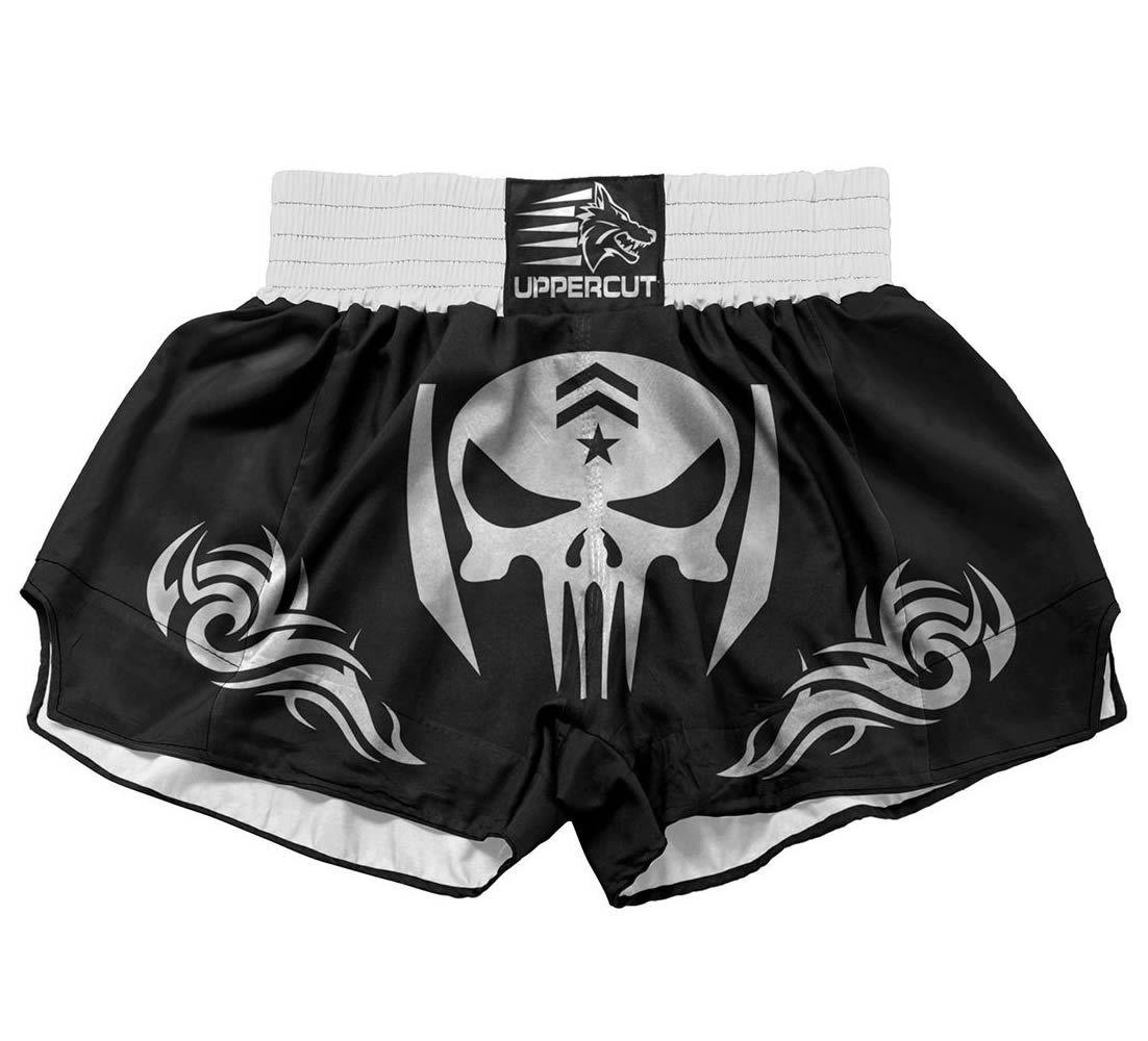 Calção Short Muay Thai / Kickboxing Caveira War - Preto - Cintura Branca - Uppercut