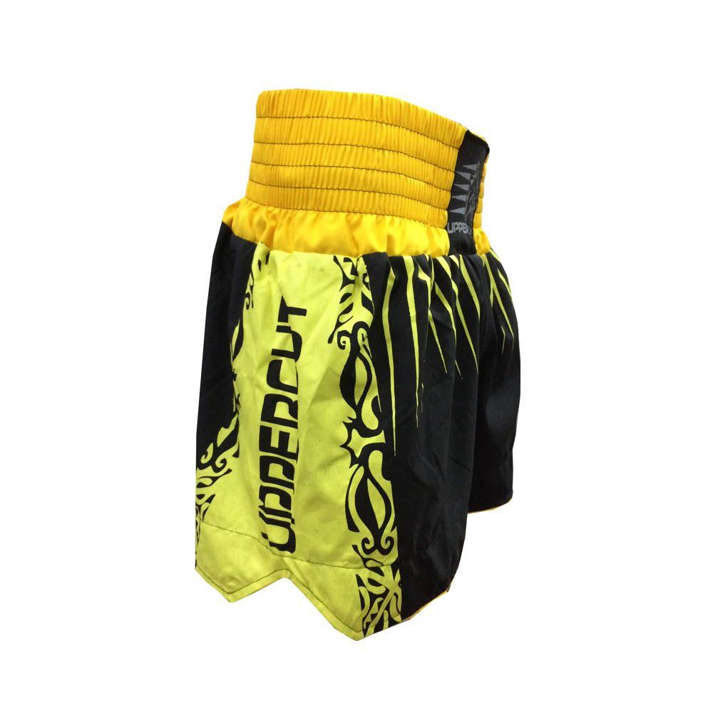 Calção Short Muay Thai / Kickboxing- Claw V2 - Preto/Amarelo - Uppercut  - Loja do Competidor