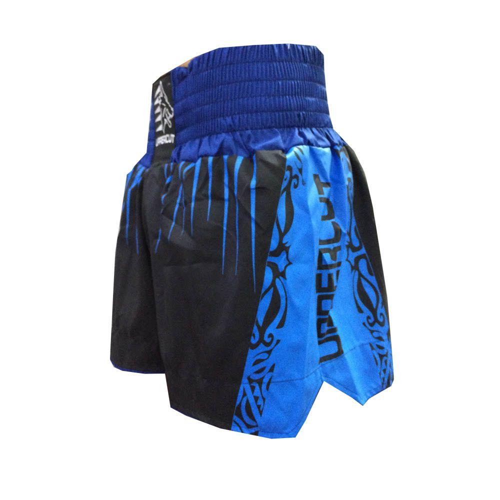 Calção Short Muay Thai / Kickboxing Claw V2 - Preto/Azul - Uppercut -