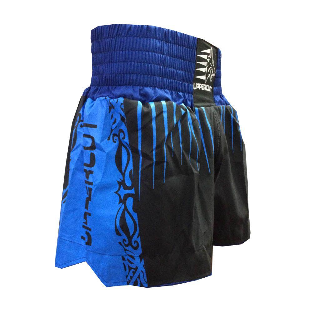 Calção Short Muay Thai / Kickboxing Claw V2 - Preto/Azul - Uppercut -  - Loja do Competidor
